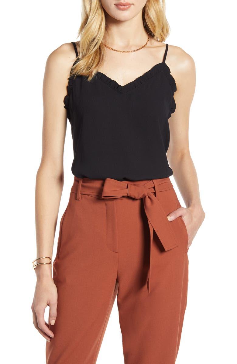 HALOGEN<SUP>®</SUP> Ruffle Trim Camisole, Main, color, BLACK