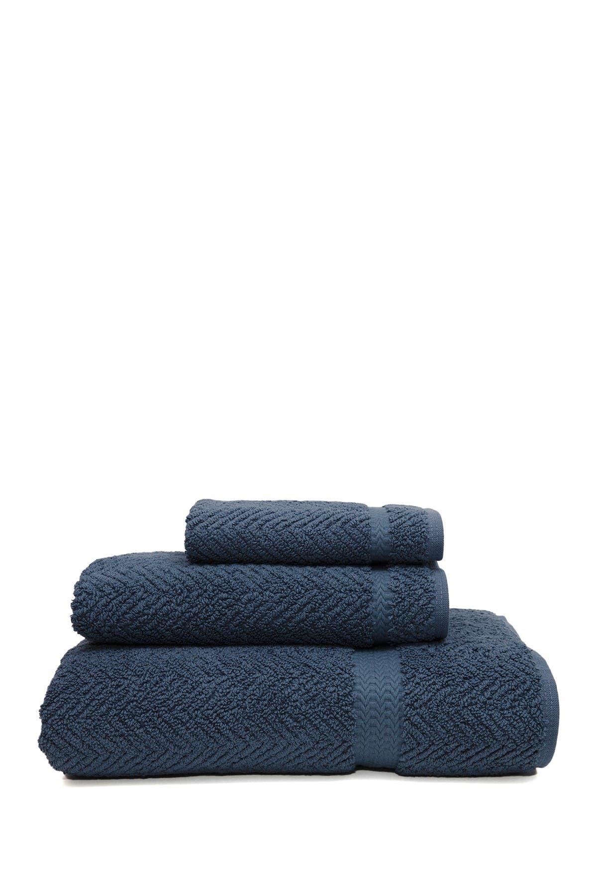 Linum Home Midnight Blue Herringbone 3 Piece Towel Set Nordstrom Rack