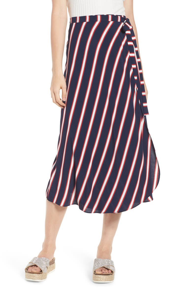 BP. Stripe Midi Wrap Skirt, Main, color, 401