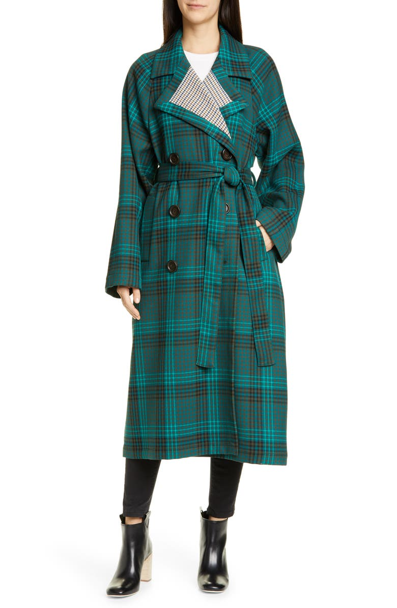 SEE BY CHLOÉ Belted Double Face Plaid Coat, Main, color, 340