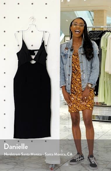 Paradise Cutout Detail Satin & Crepe Sheath Dress, sales video thumbnail