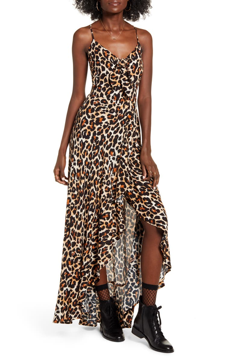 BAND OF GYPSIES Born To Be Wild High/Low Dress, Main, color, BROWN/ BLACK