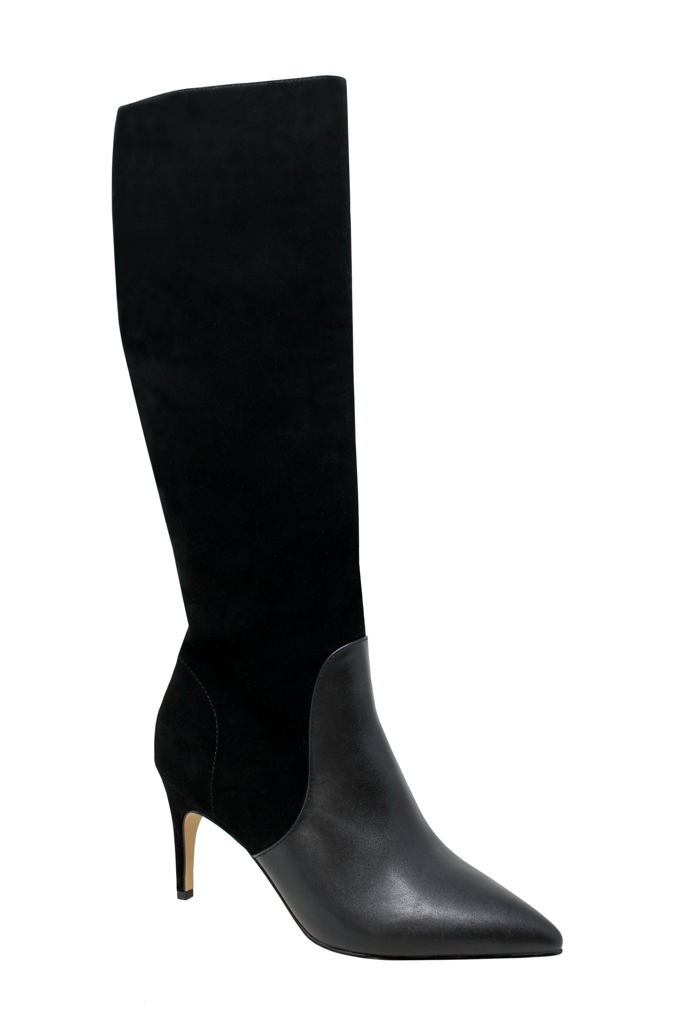 Pinstripe Knee High Boot