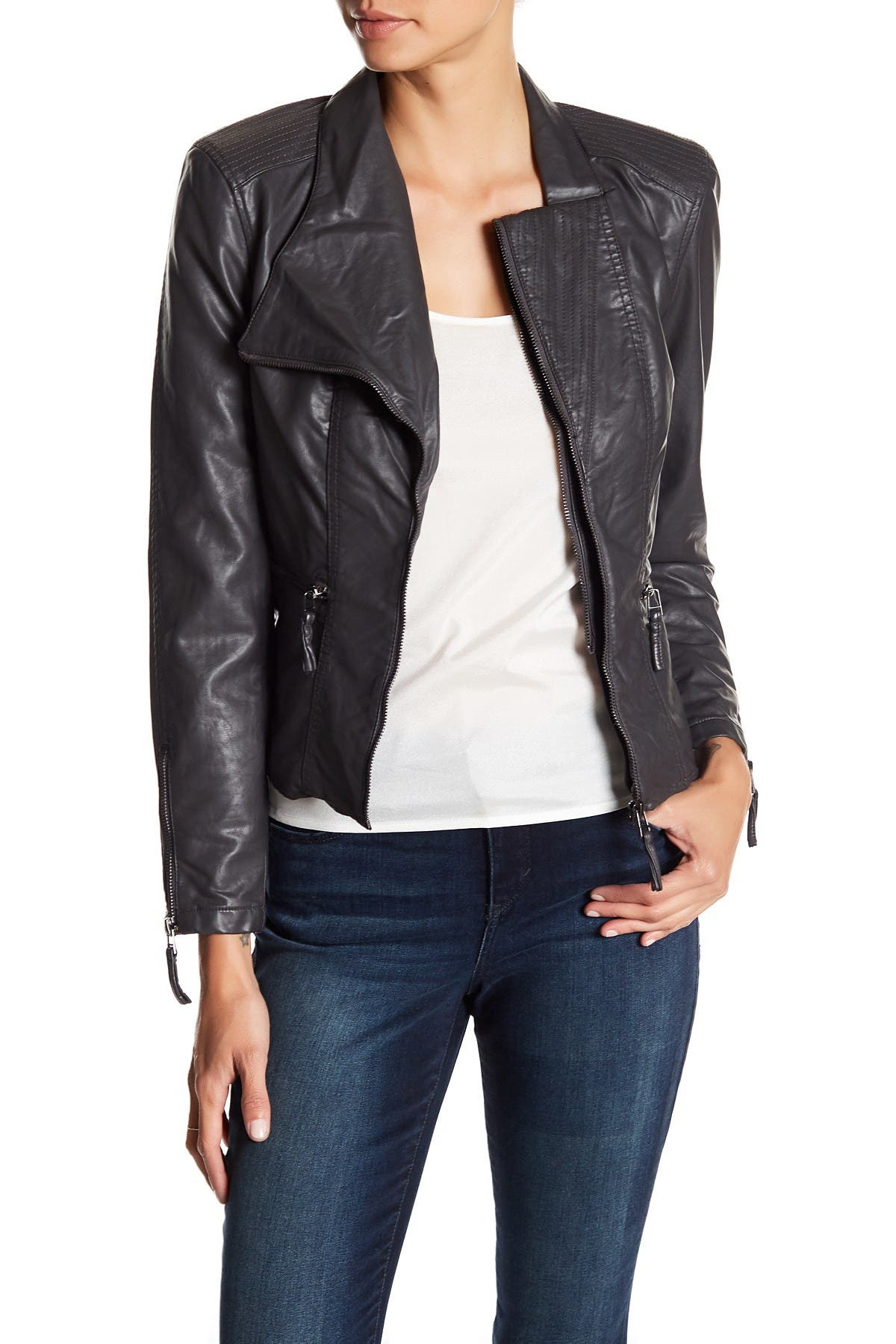 BLANKNYC Denim Faux Leather Fitted Moto Jacket