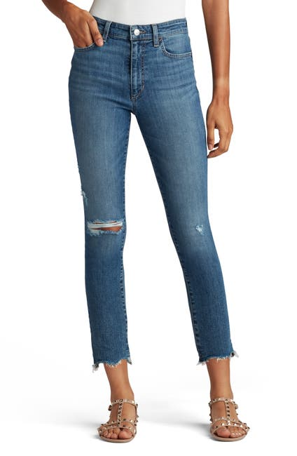 Image of Joe's Jeans Mid Rise Straight Jeans With Shark Bite Hems
