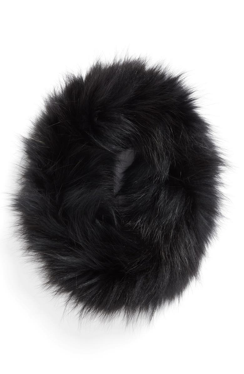 DENA Genuine Fox Fur Cowl Collar, Main, color, 001