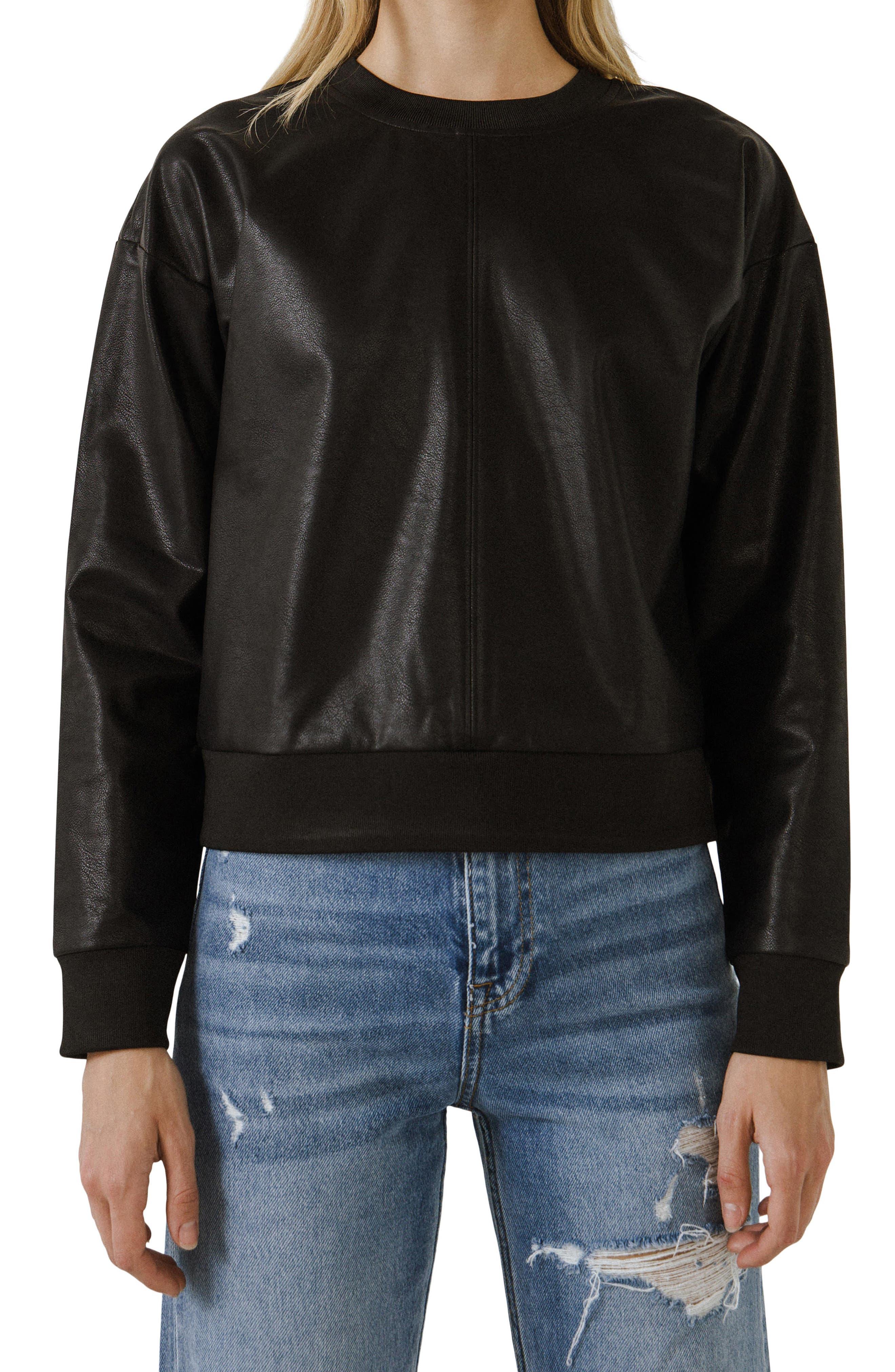 Faux Leather Sweatshirt