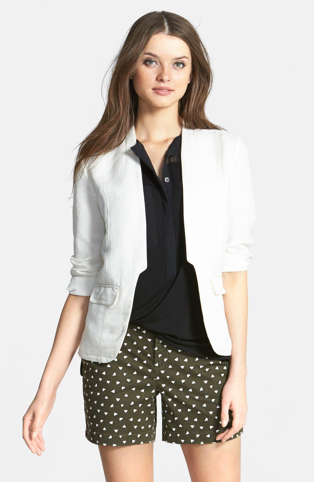,                             Linen Blend Jacket,                             Main thumbnail 4, color,                             100