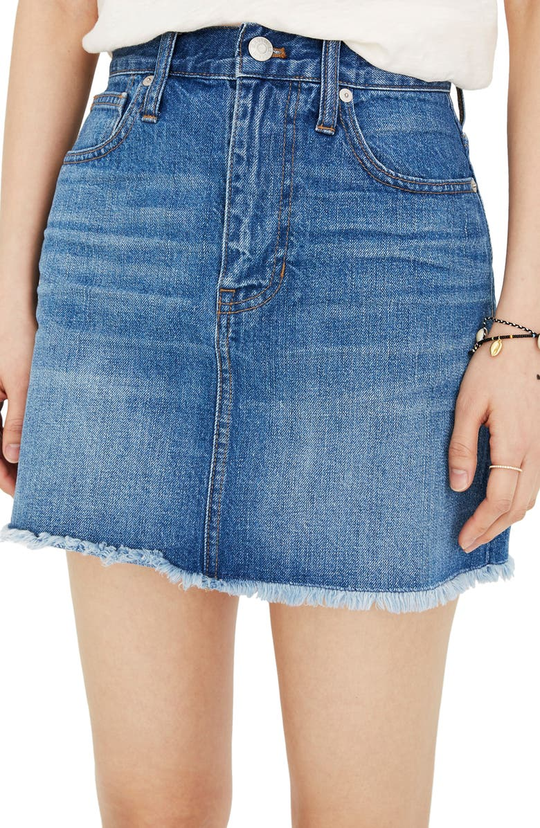 MADEWELL Frayed A-Line Denim Miniskirt, Main, color, 400