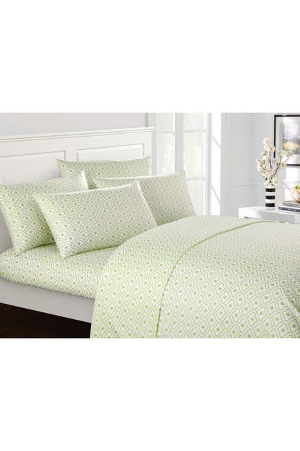 Image of Chic Home Bedding Green Gazella Contemporary Geometric Diamond Queen 6-Piece Sheet Set