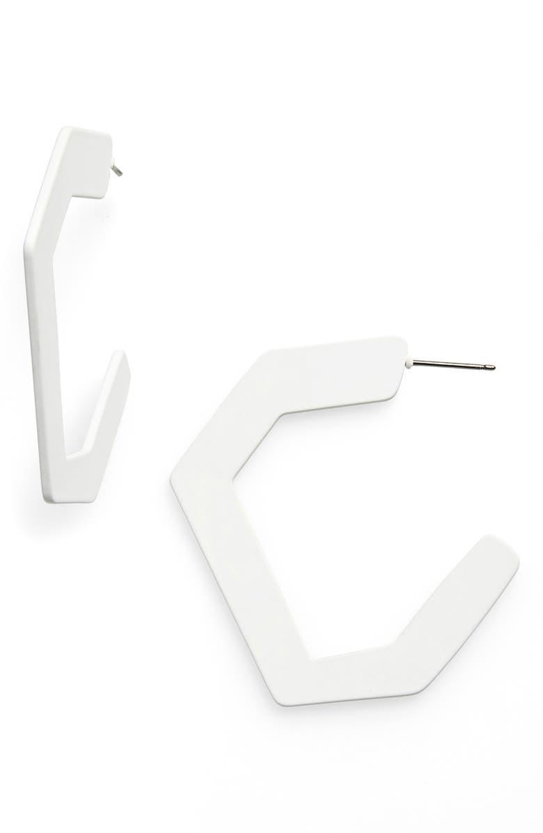 STELLA + RUBY Geometric Hoop Earrings, Main, color, 100