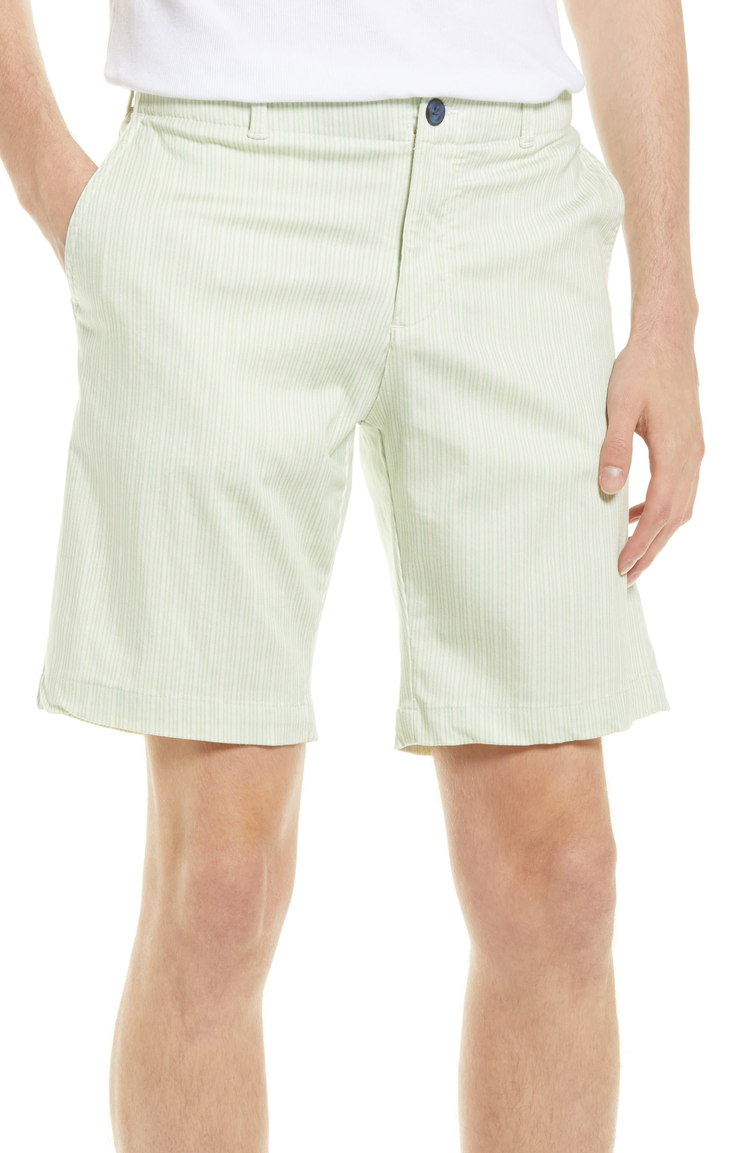 Stripe Stretch Flat Front Chino Shorts