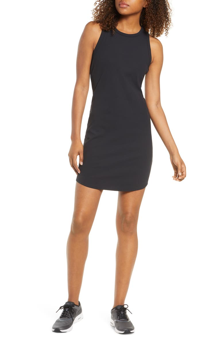 ZELLA Wear it Out Rib Dress, Main, color, BLACK