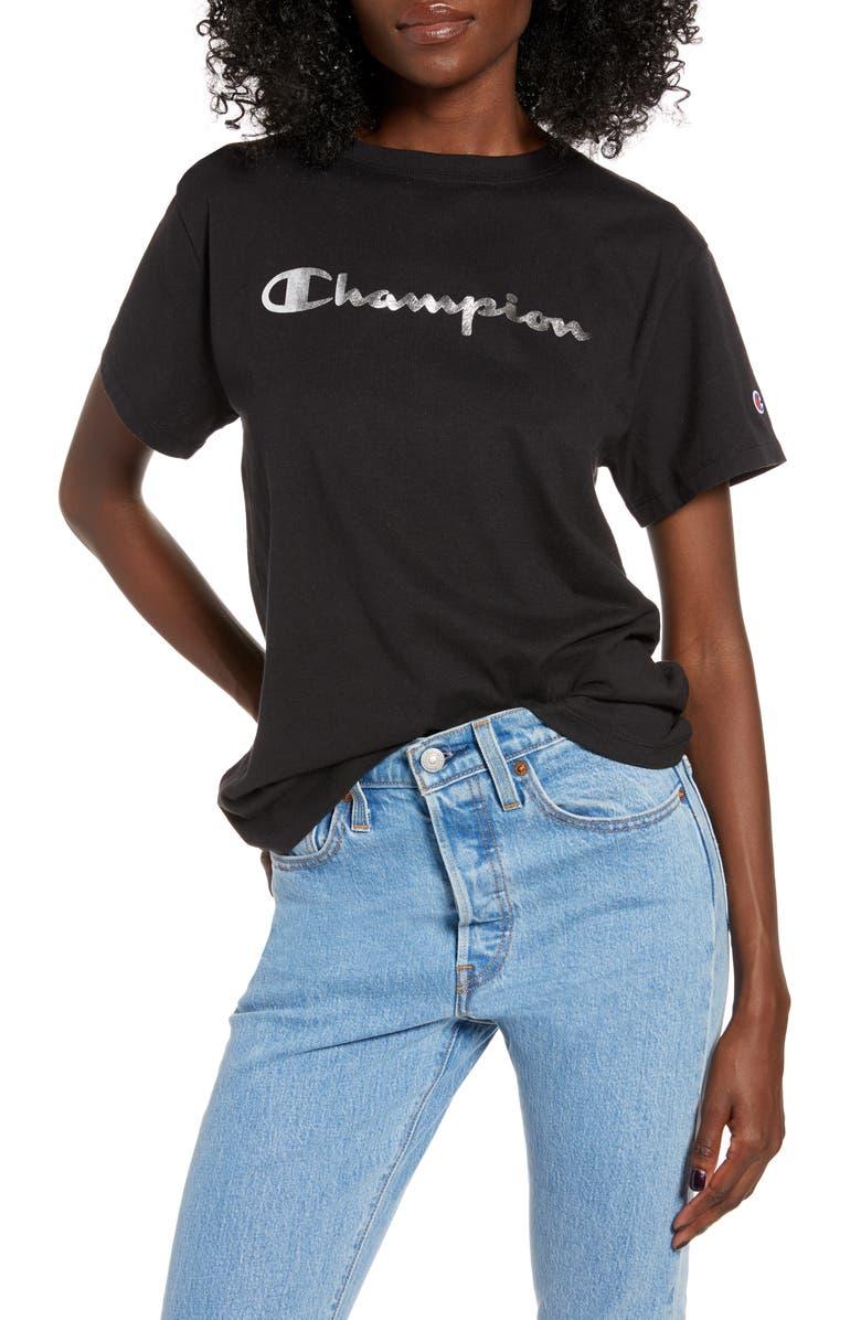 CHAMPION Foil Logo Vintage Tee, Main, color, 001