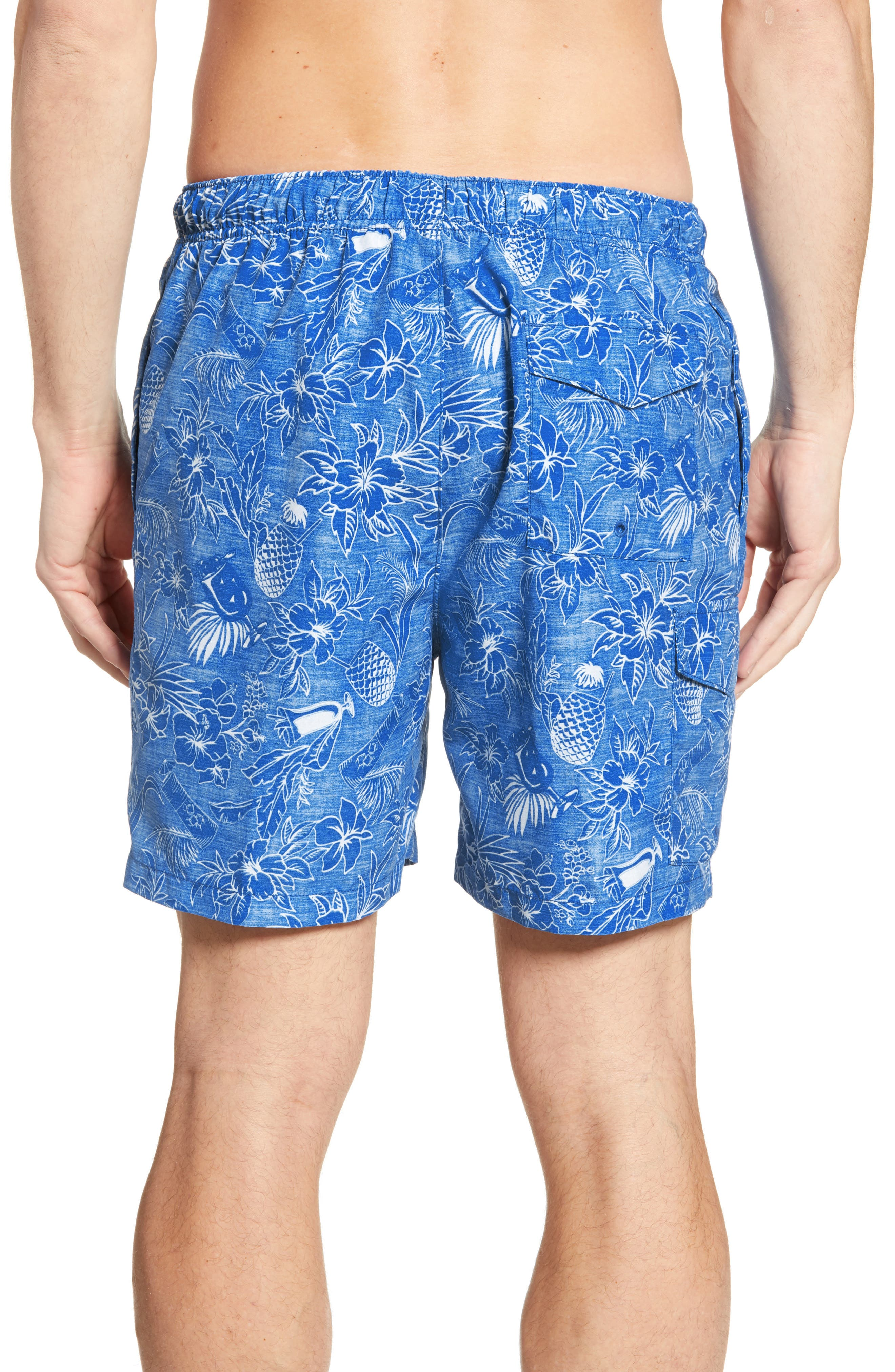 ,                             Naples Tiki Luau Print Swim Trunks,                             Alternate thumbnail 2, color,                             MADRAS BLUE