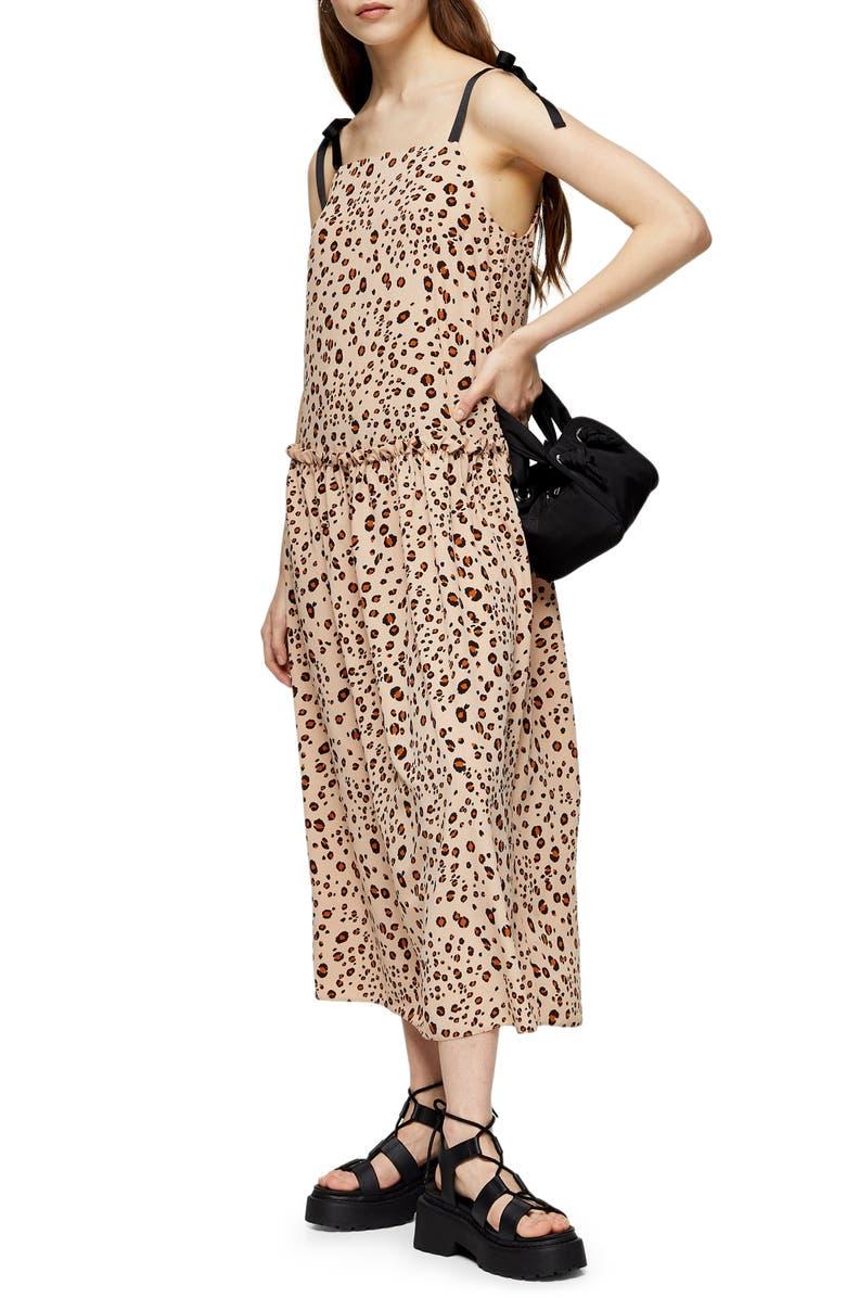 TOPSHOP Tie Shoulder Drop Waist Midi Dress, Main, color, BROWN