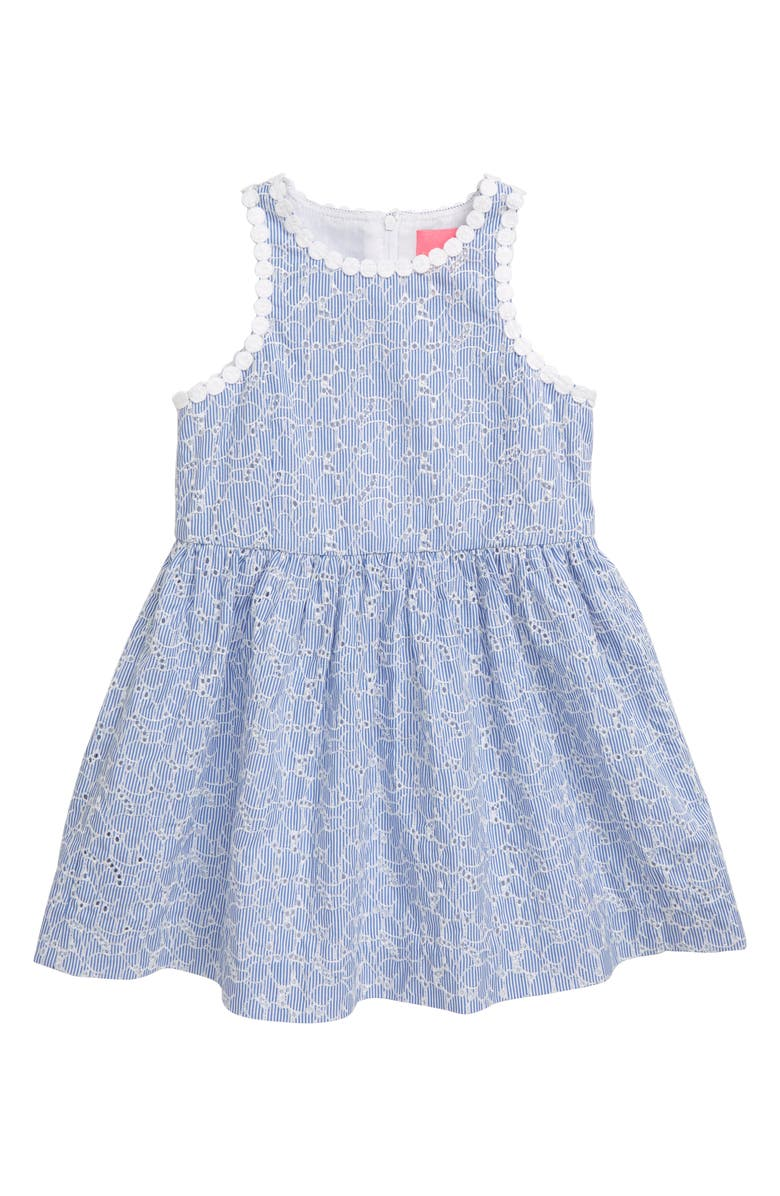 LILLY PULITZER<SUP>®</SUP> Mini Tori Embroidered Fit & Flare Sundress, Main, color, BLUE TINT YARN DYE FLORAL