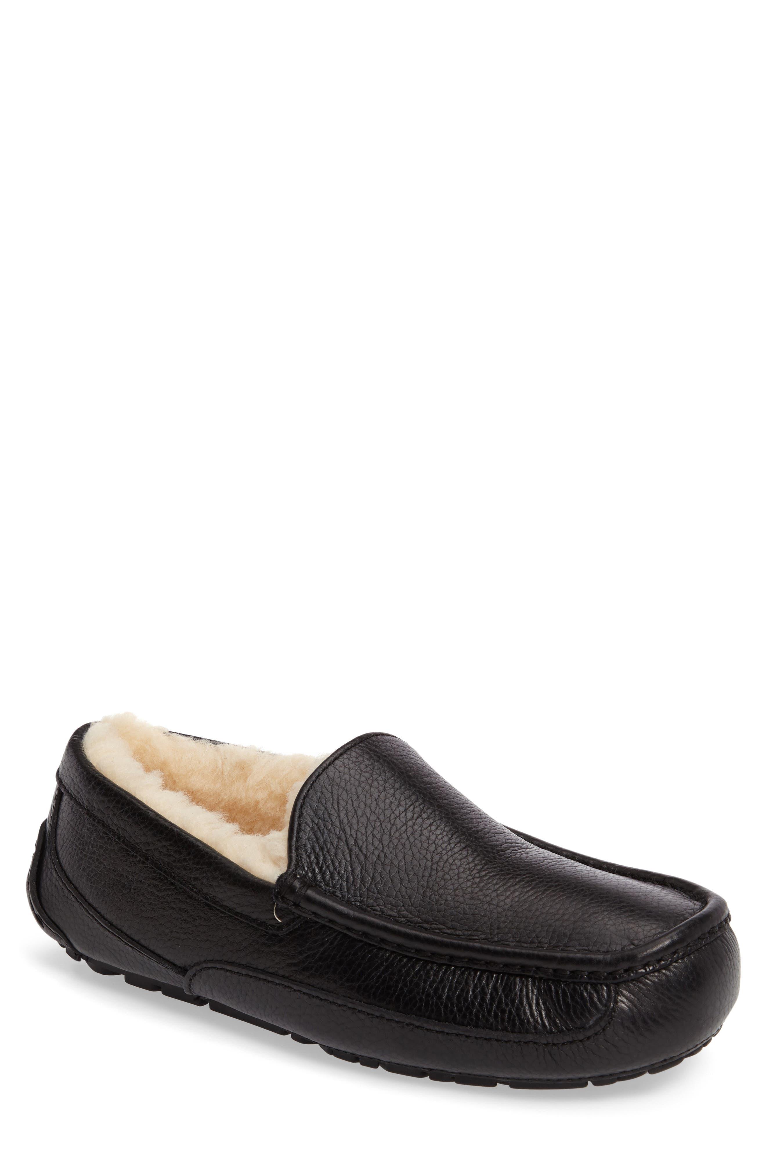 Ascot Leather Slipper, Main, color, BLACK