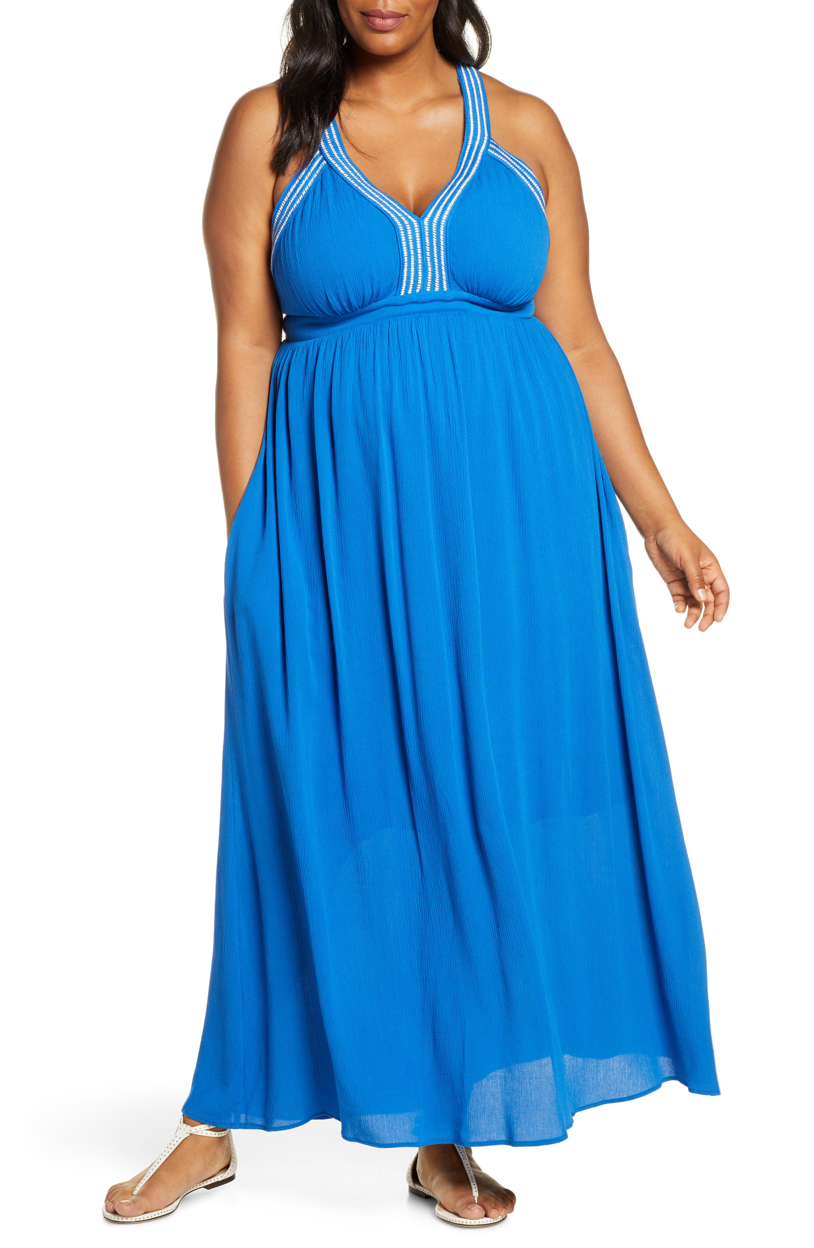 Plus Size Gibson X Hi Sugarplum! Santorini Adjustable Strap Maxi Dress, Blue