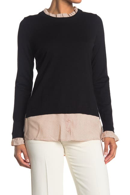 Image of Adrianna Papell Polka Dot Ruffle Neck Twofer Sweater