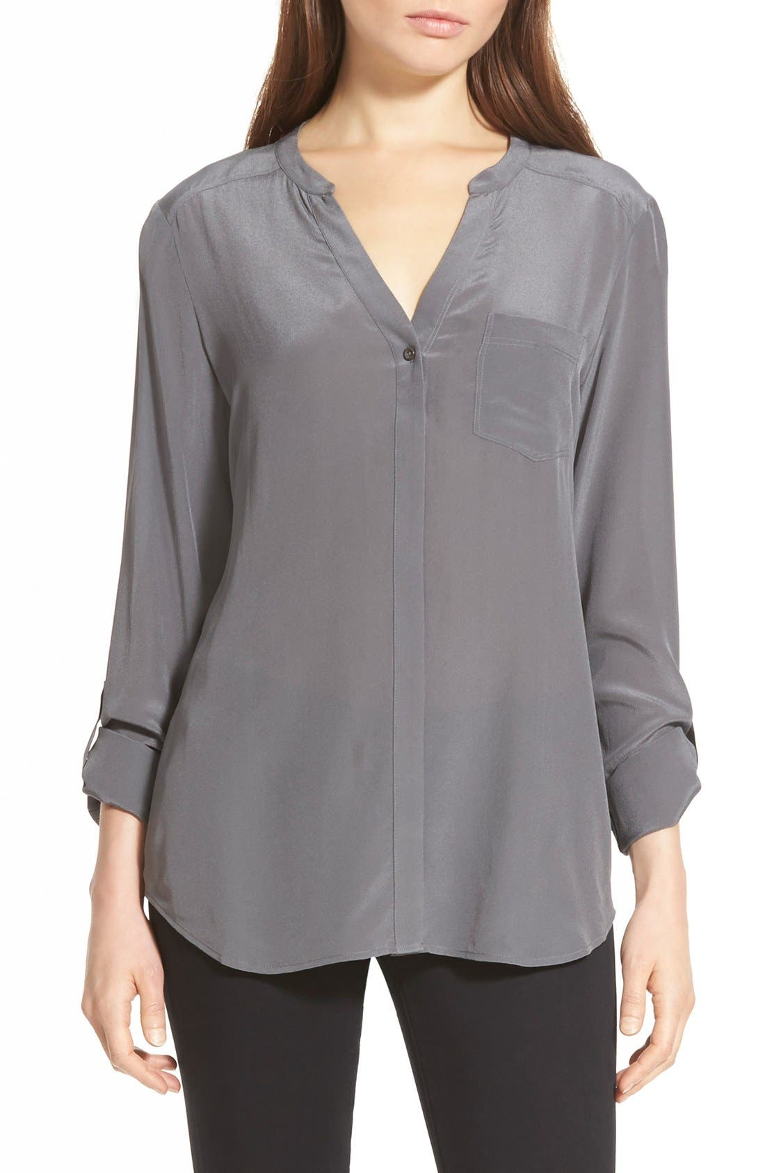 ,                             Collarless Silk Blouse,                             Main thumbnail 20, color,                             023