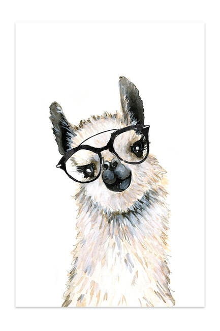 Image of iCanvas Llama With Glasses by Mercedes Lopez Charro