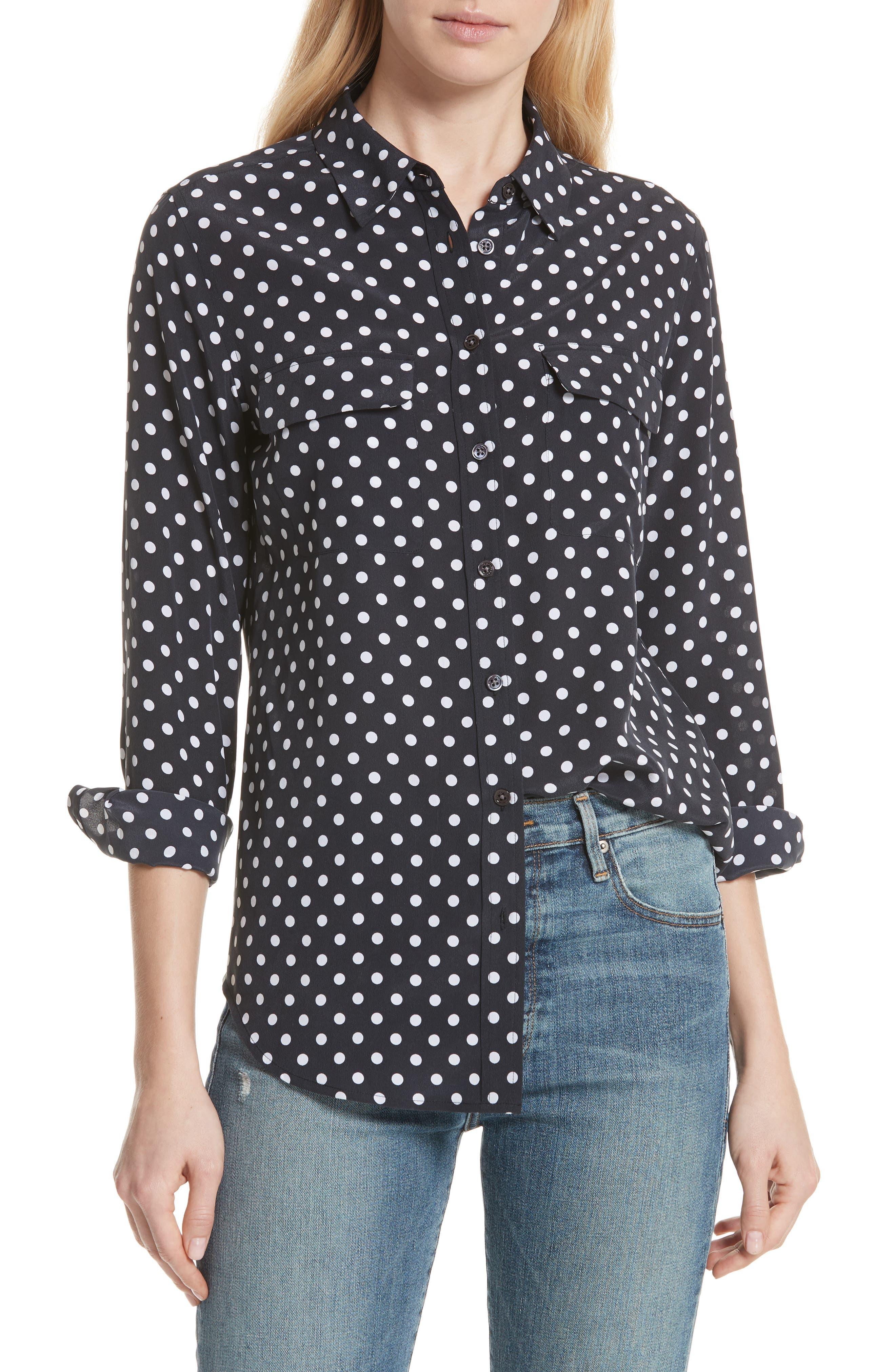 ,                             Slim Signature Polka Dot Silk Shirt,                             Main thumbnail 1, color,                             ECLIPSE/ BRIGHT WHITE