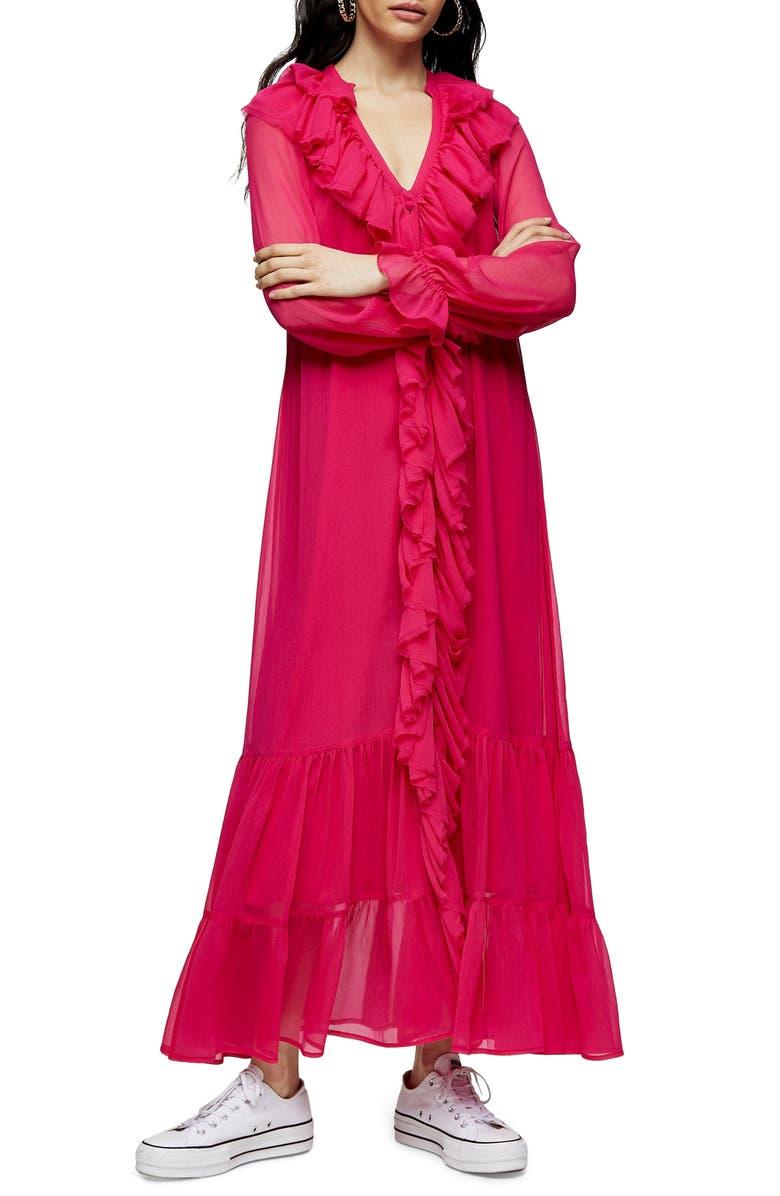 TOPSHOP Frill Chiffon Long Sleeve Maxi Dress, Main, color, PINK