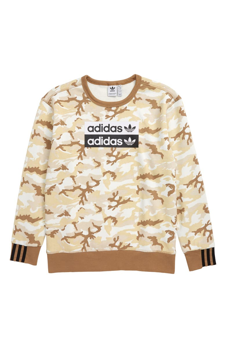 ADIDAS ORIGINALS V-Ocal Camo Fleece Sweatshirt, Main, color, 200