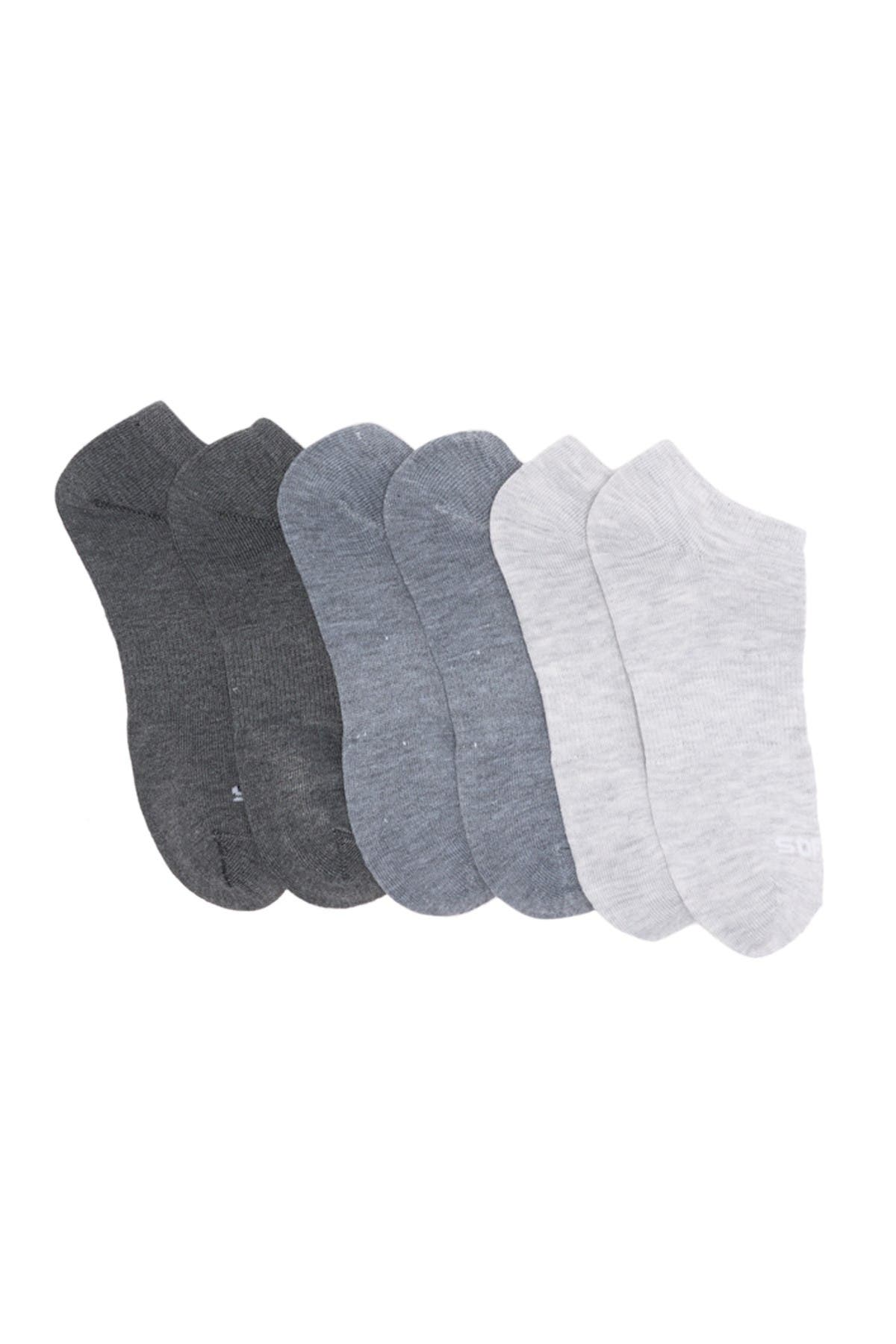 Image of Sof Sole 3 Shades Of Grey Low Cut Socks - Pack of 6
