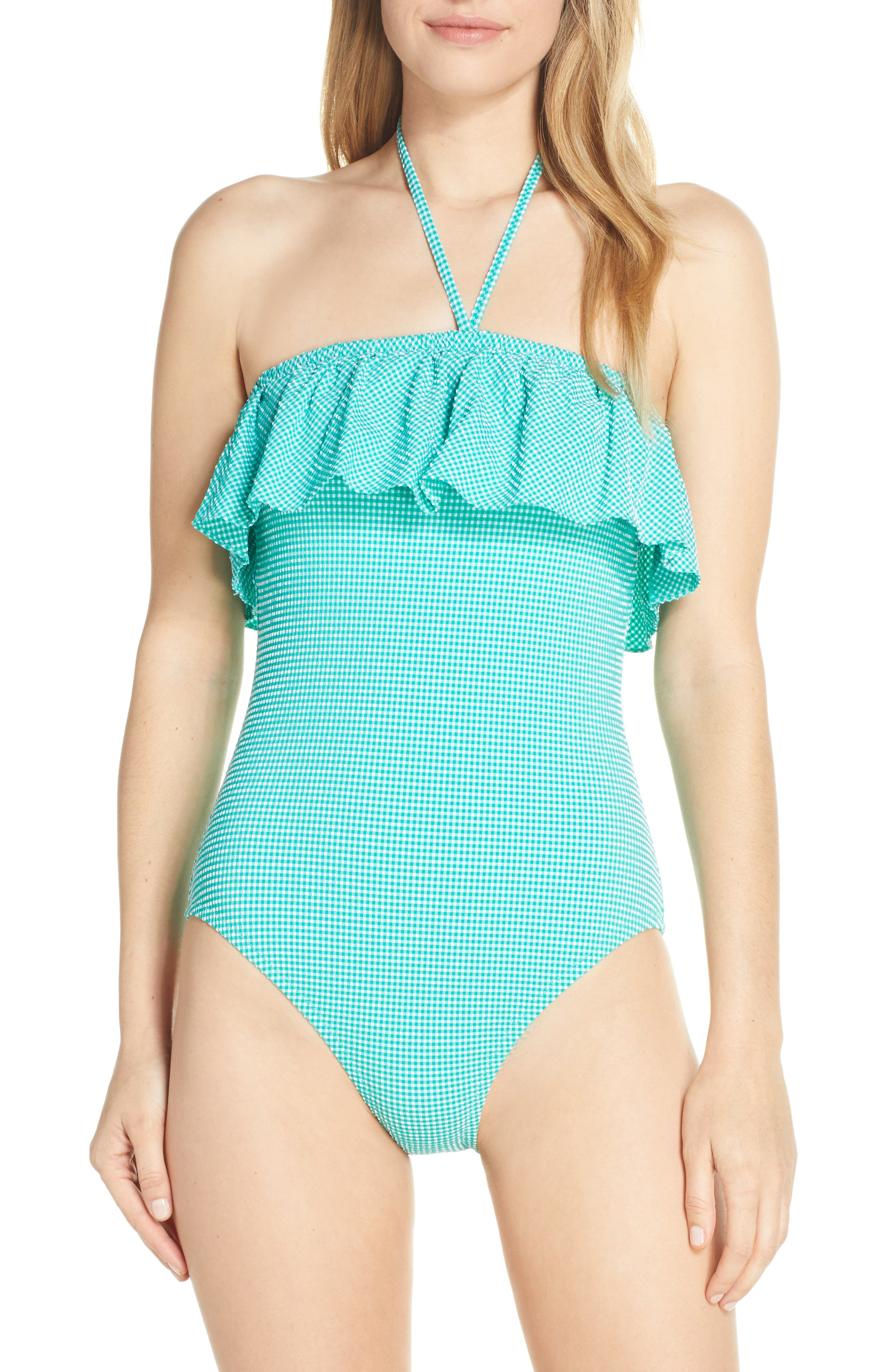 J.crew Gingham Ruffle Bandeau One-Piece Swimsuit, Green