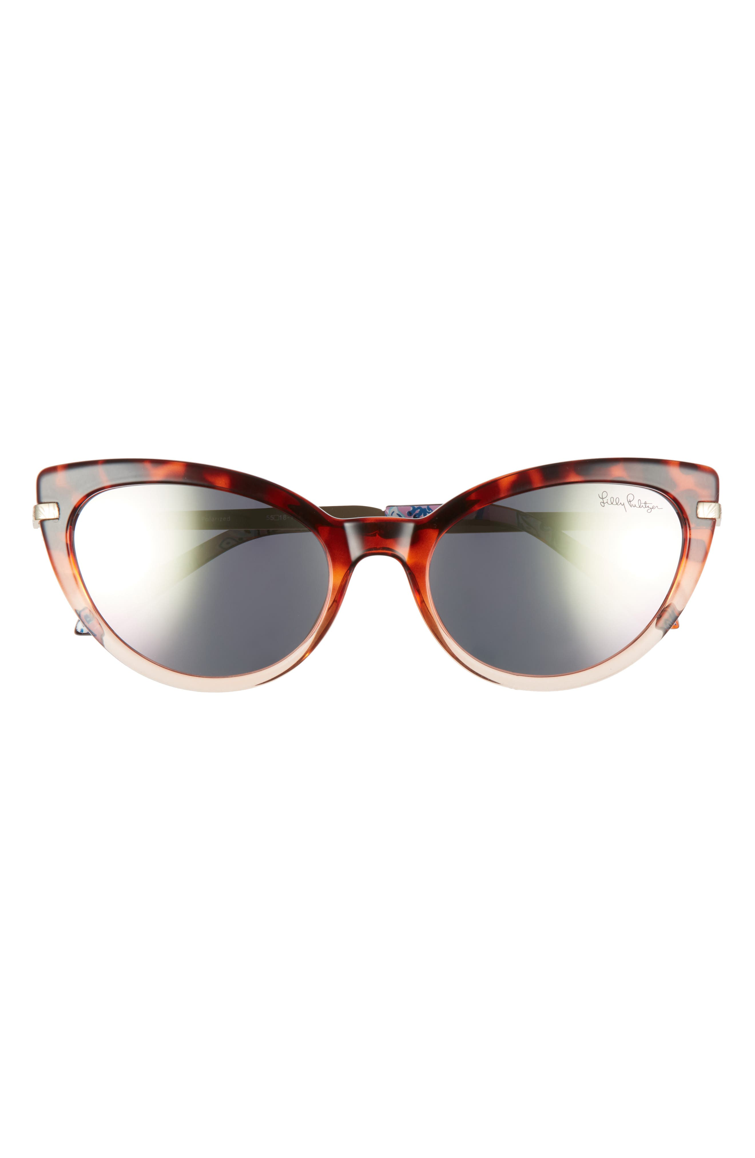 Etched patterns mark the temples of these bold cat-eye sunglasses fitted with glare-reducing polarized lenses. Style Name: Lilly Pulitzer Halona 55mm Polarized Cat Eye Sunglasses. Style Number: 6104393. Available in stores.