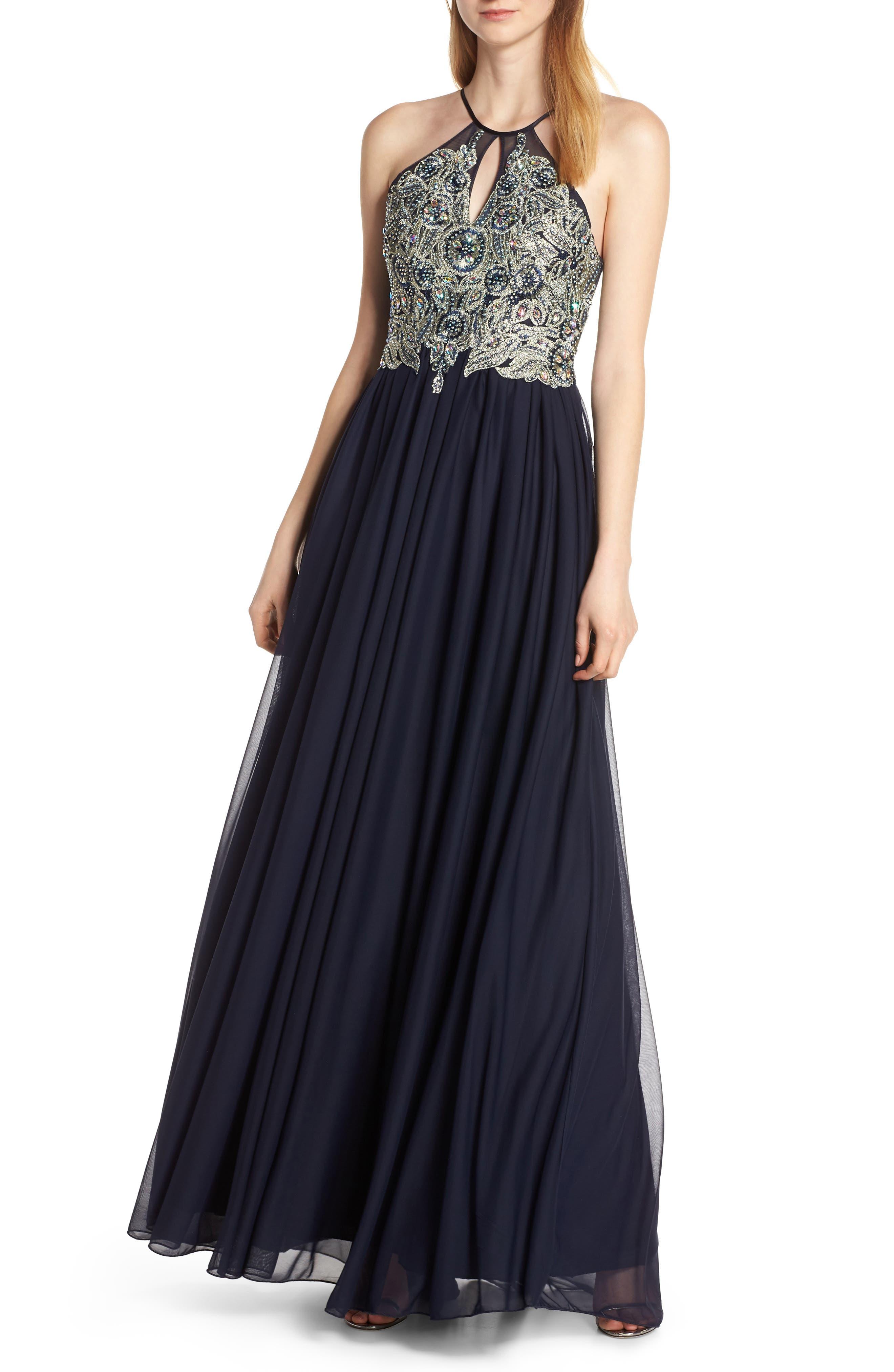 Sequin Hearts Embellished Evening Dress, Blue
