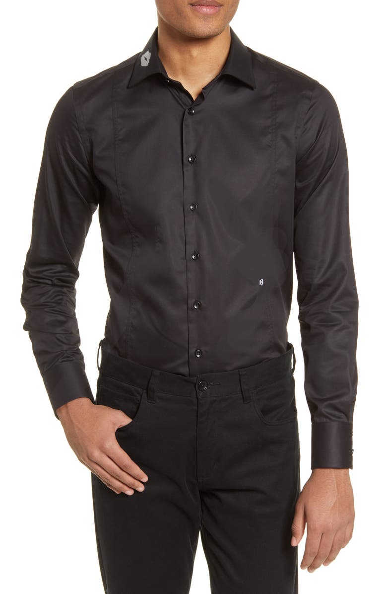 CHRISTOPHER BATES Romeo Slim Fit Kiss Print Button-Up Shirt, Main, color, BLACK
