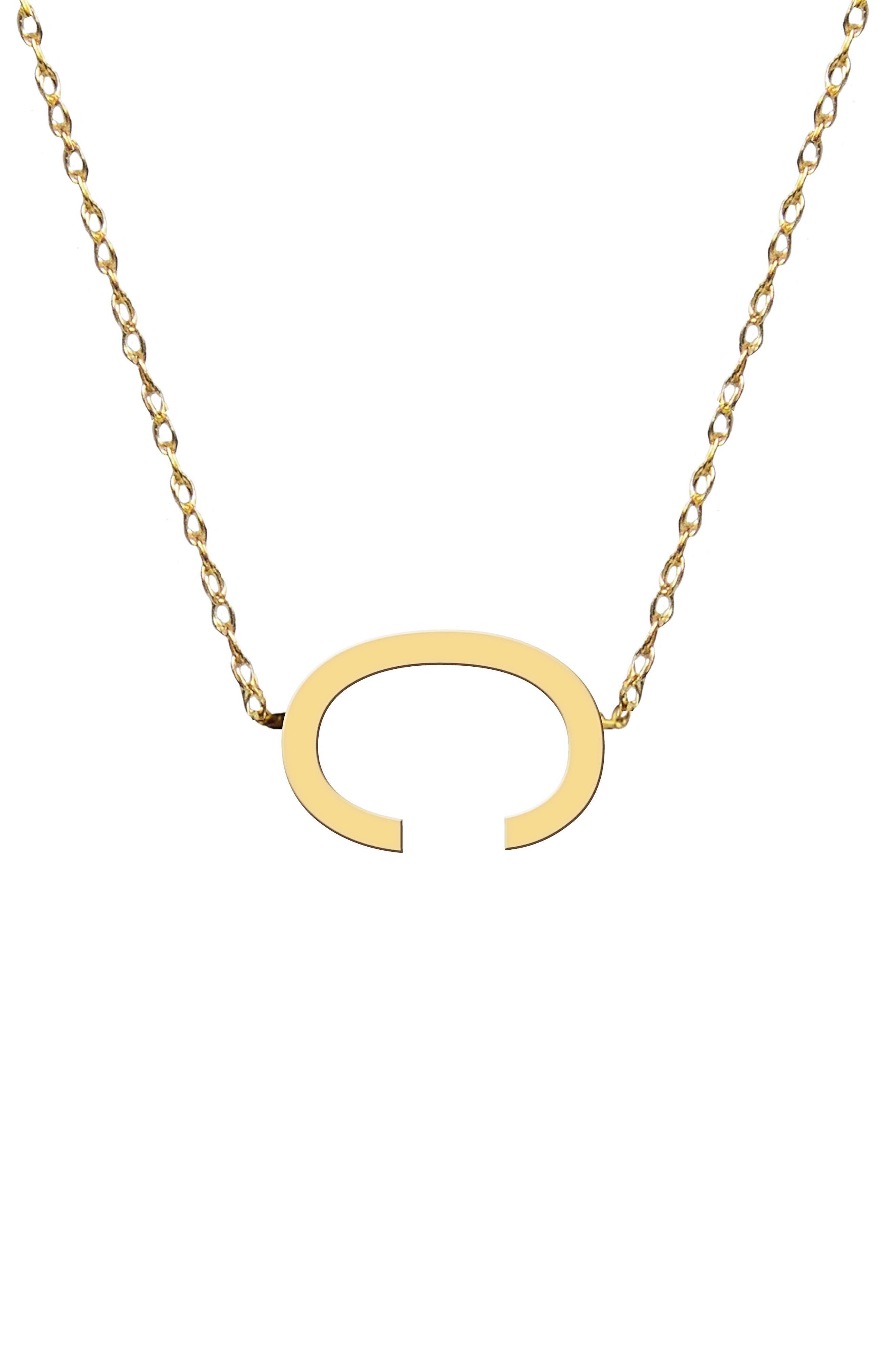 Sideways Block Initial Pendant Necklace (Nordstrom Exclusive)
