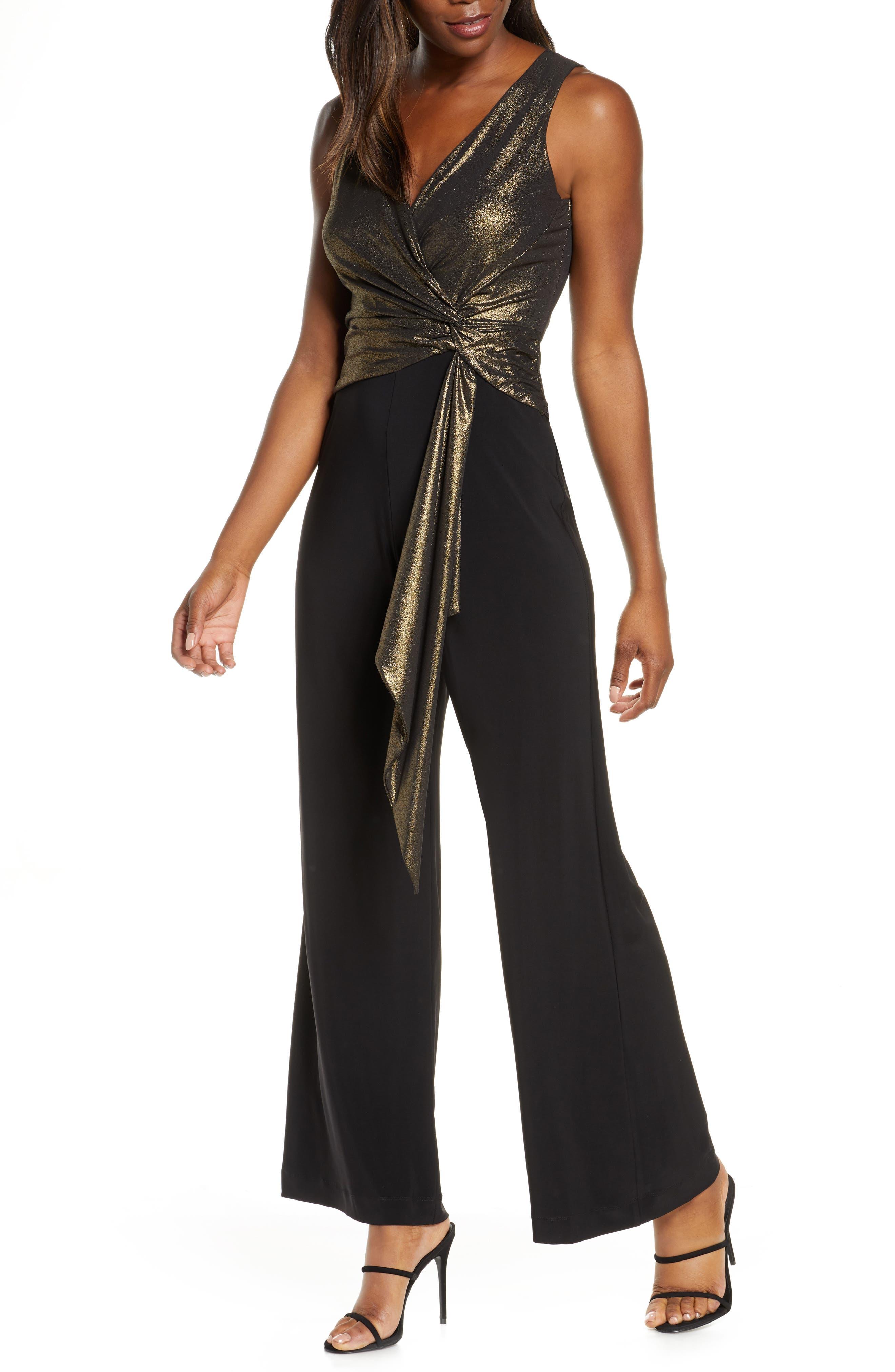 70s Jumpsuit   Disco Jumpsuits – Sequin, Striped, Gold, White, Black Womens Taylor Dresses Metallic Bodice Mix Media Faux Wrap Jumpsuit $139.00 AT vintagedancer.com