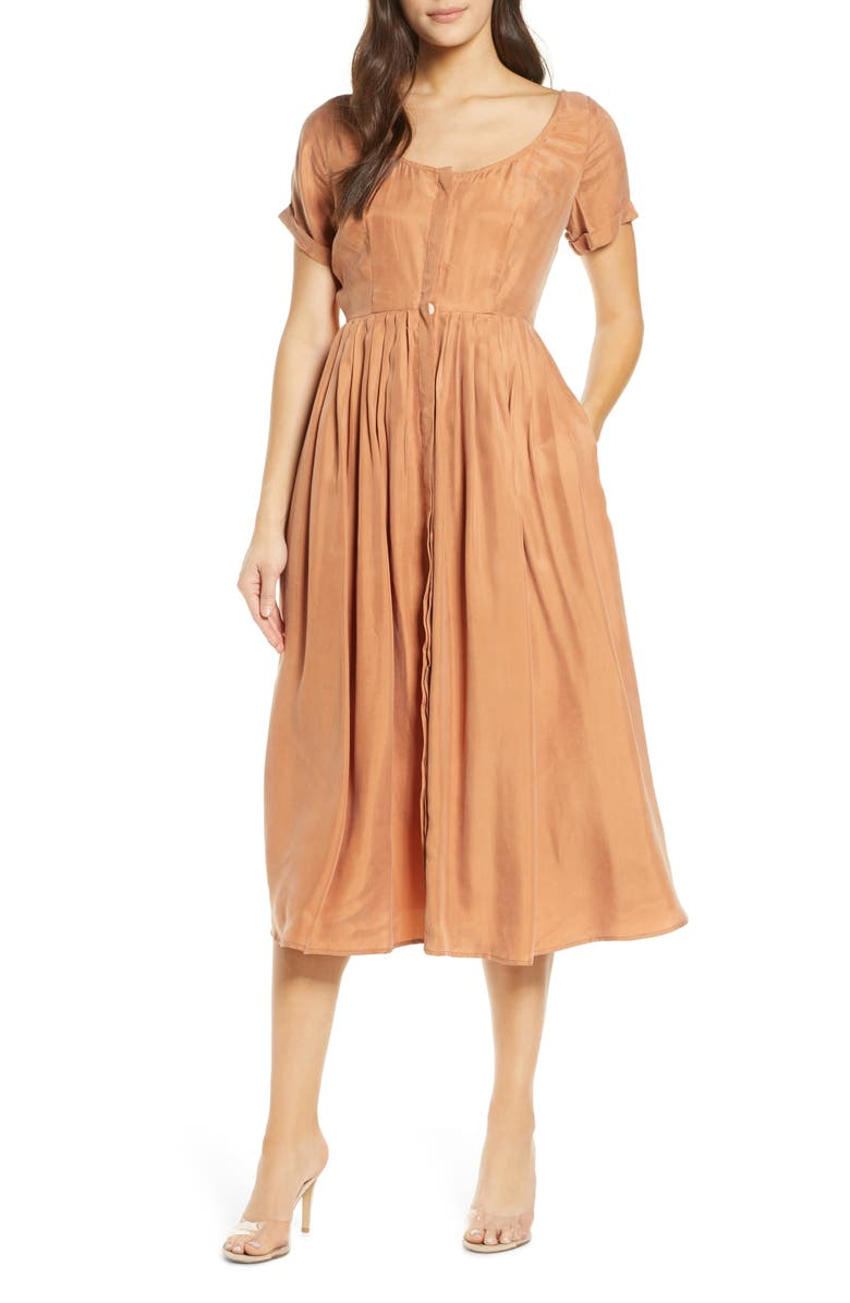 SANCIA The Marjeta Button Front Satin Twill Midi Dress, Main, color, CLAY