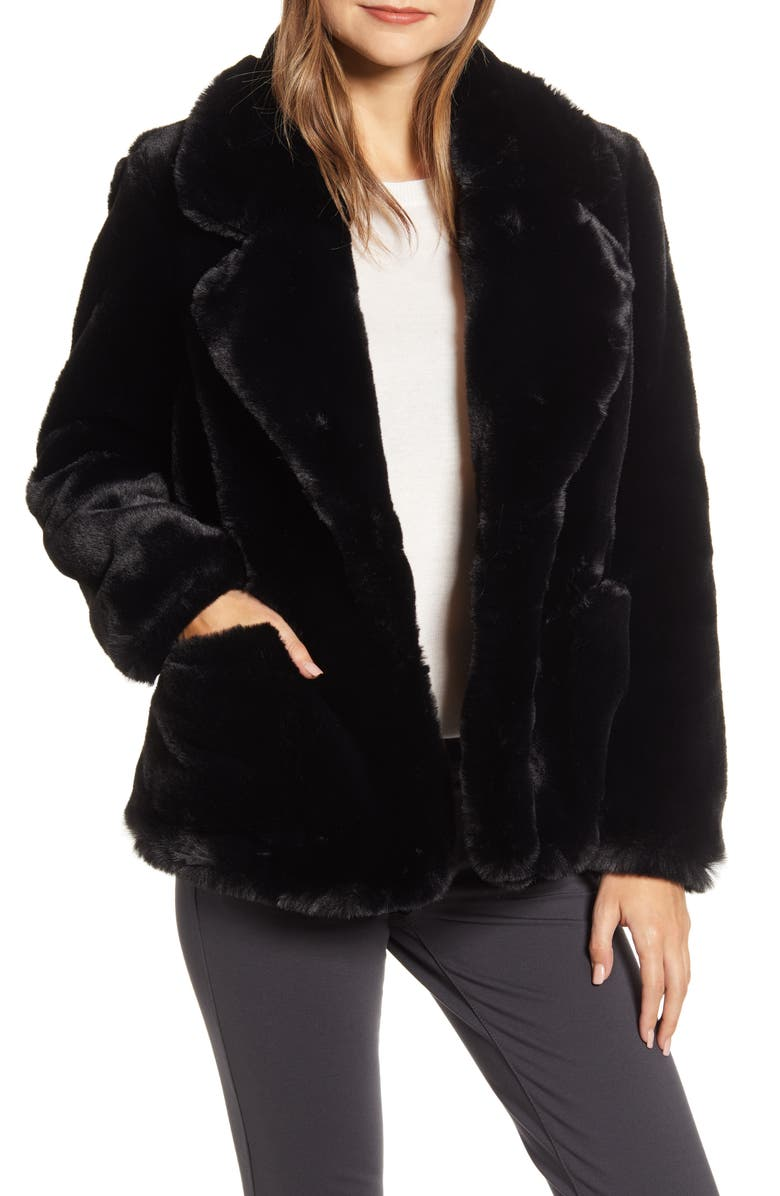 ELLEN TRACY Faux Fur Jacket, Main, color, 001