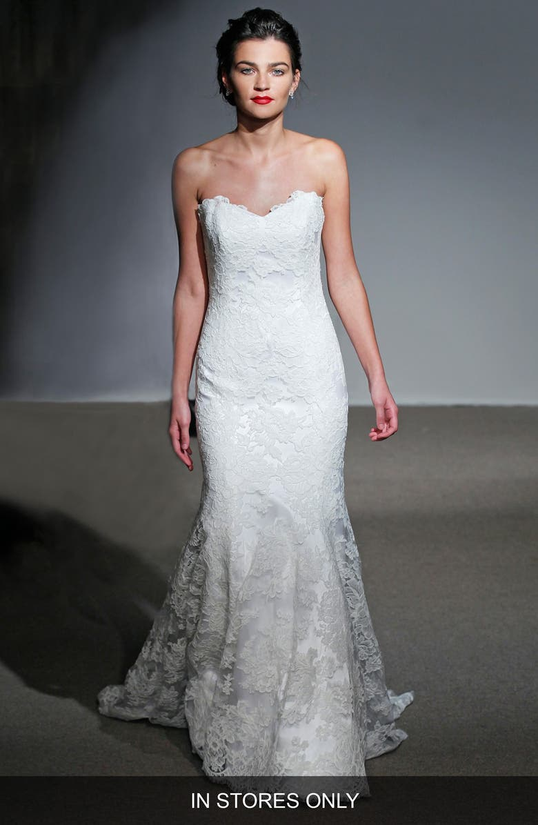 ANNA MAIER COUTURE Mirielle Strapless Corded Lace Trumpet Gown, Main, color, 100