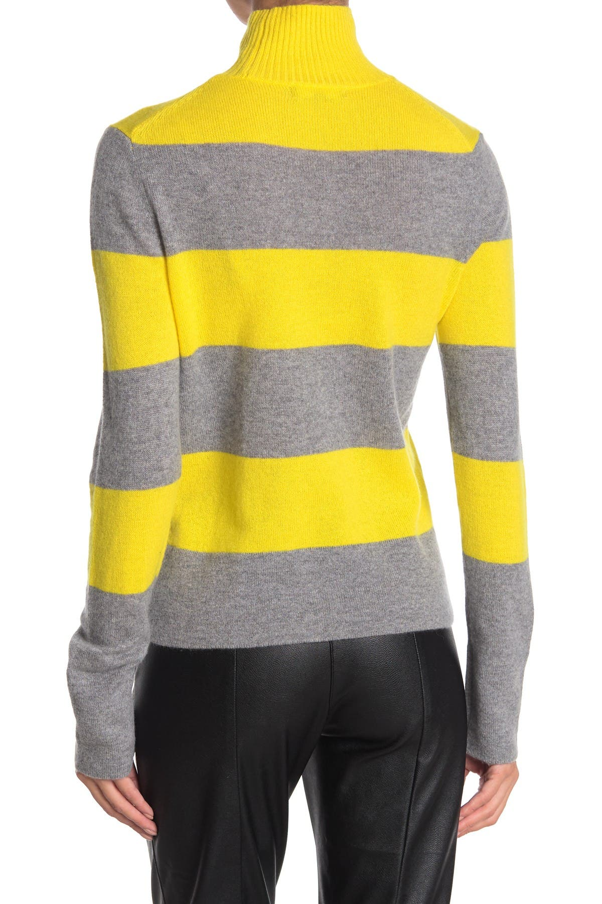 Image of 525 America Cashmere Mock Neck Rugby Stripe Print Sweater