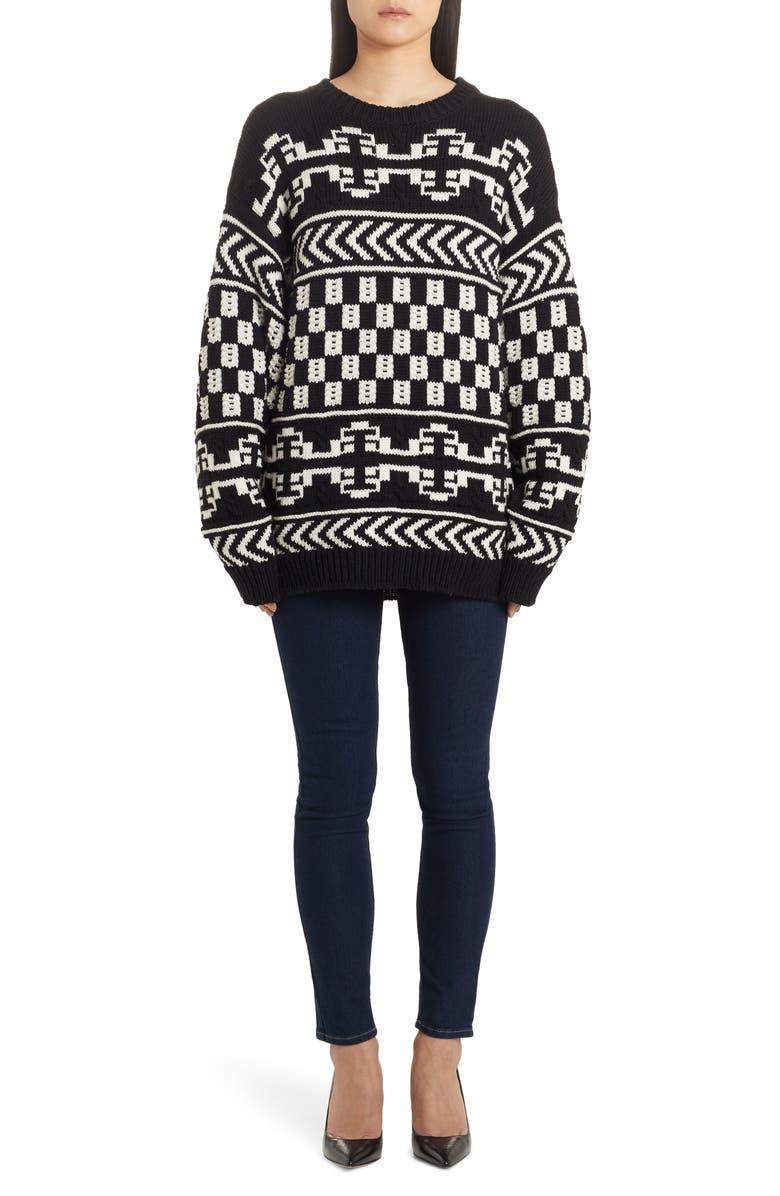ALANUI Oversize Jacquard Sweater, Main, color, LAPPONIA WHITE