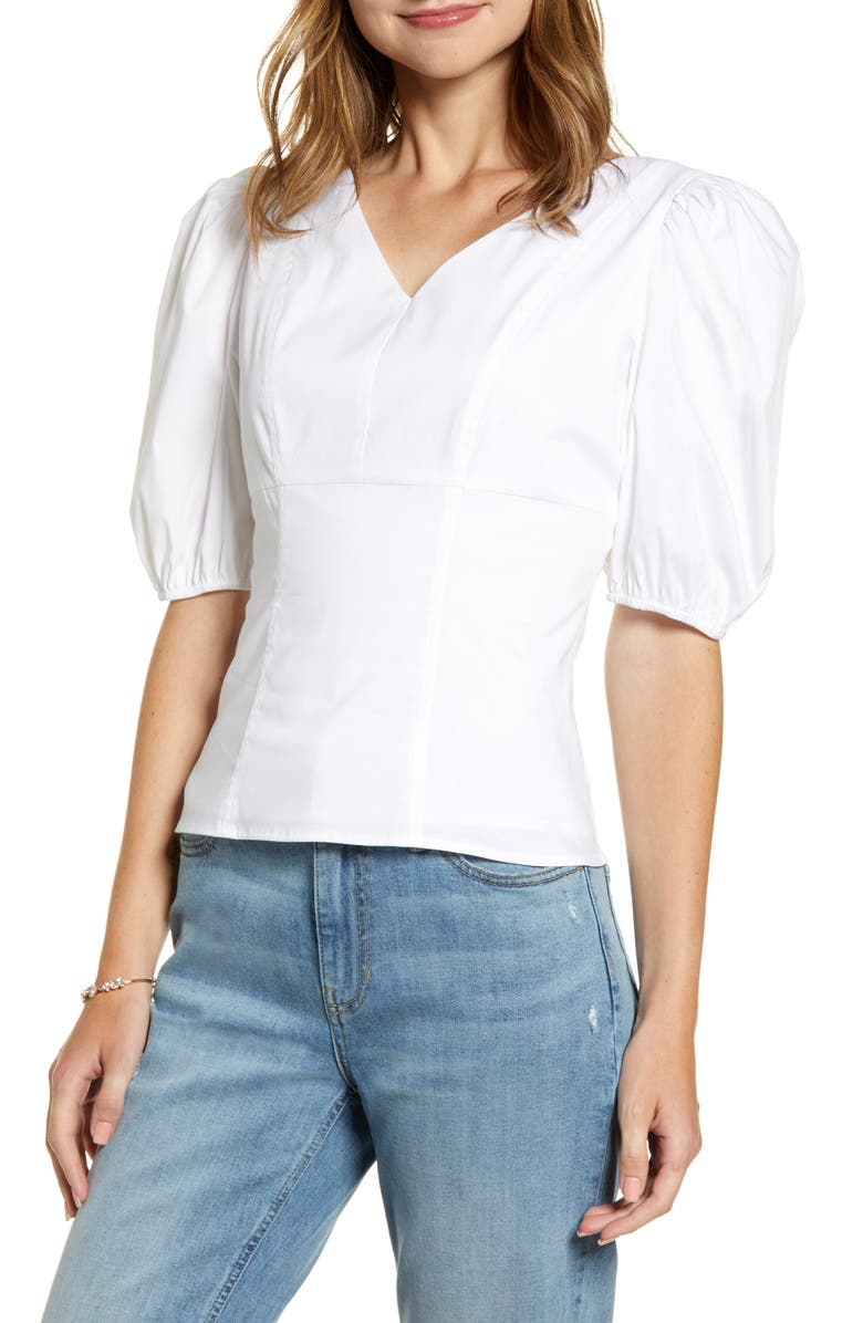 RACHEL PARCELL Puff Sleeve Top, Main, color, WHITE