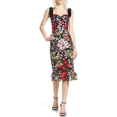 Bronx And Banco Alicia Floral Midi Dress, Black