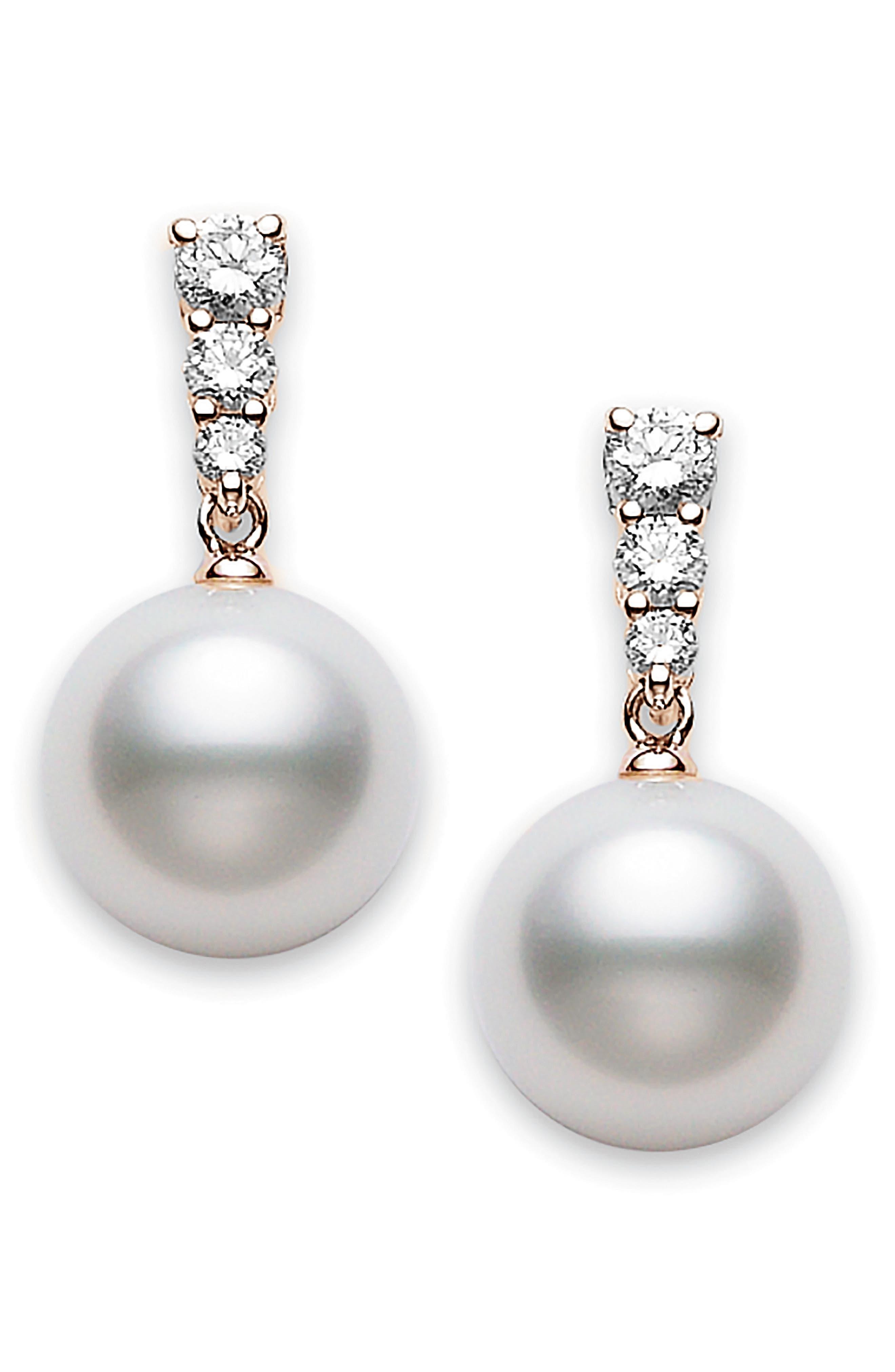 Morning Dew Diamond & Pearl Earrings