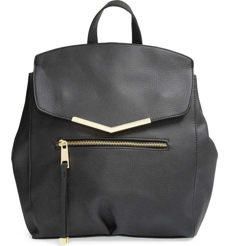 T-SHIRT & JEANS Faux Leather Backpack, Main, color, 001