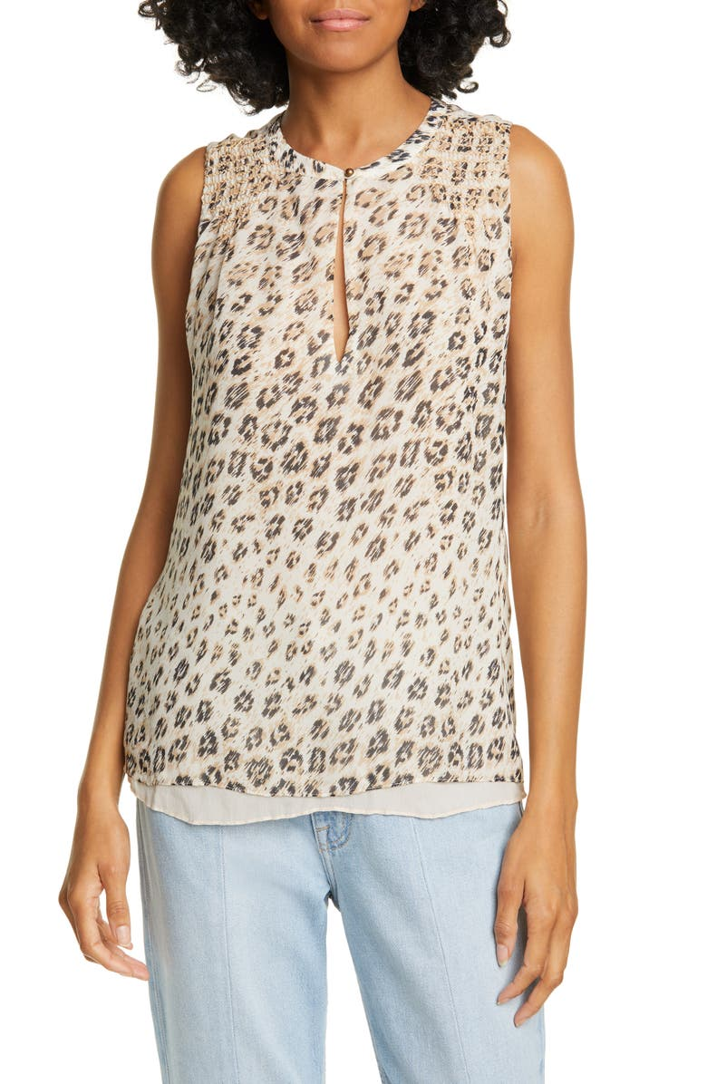 f912172fb216 Corie Leopard Print Sleeveless Silk Top, Main, color, CAPPUCCINO