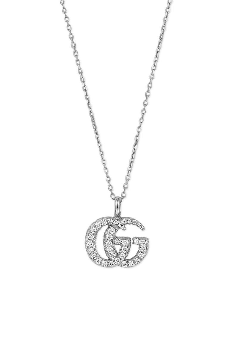 GUCCI GG Running Diamond Pendant Necklace, Main, color, WHITE GOLD