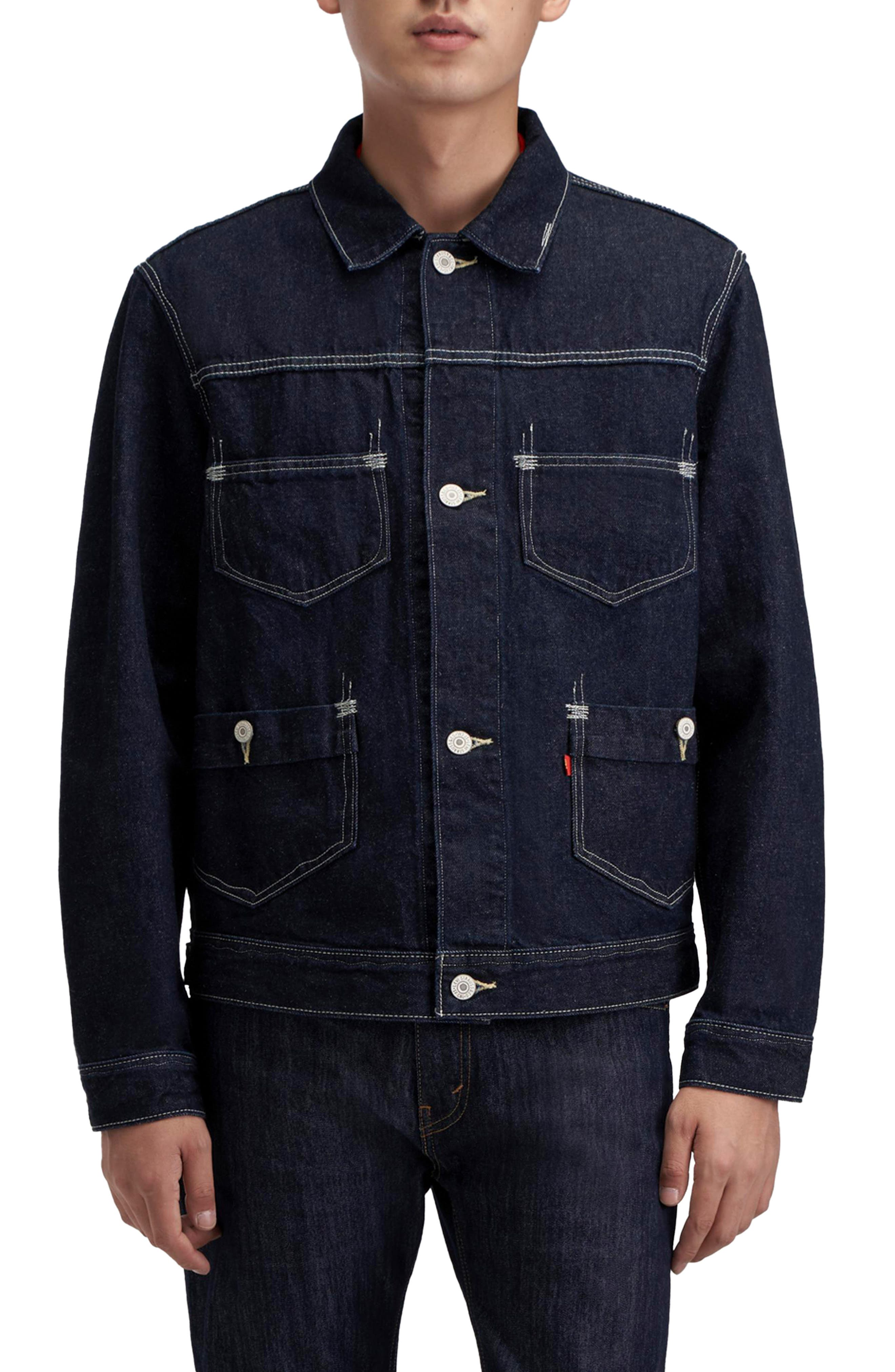 1920s Men's Workwear, Casual Clothes Mens Levis Red Label Denim Trucker Jacket Size Medium - Blue $130.00 AT vintagedancer.com