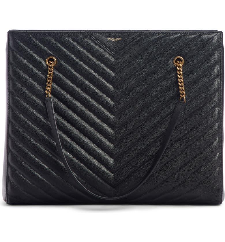 SAINT LAURENT Large Tribeca Quilted Calfskin Leather Tote, Main, color, NOIR