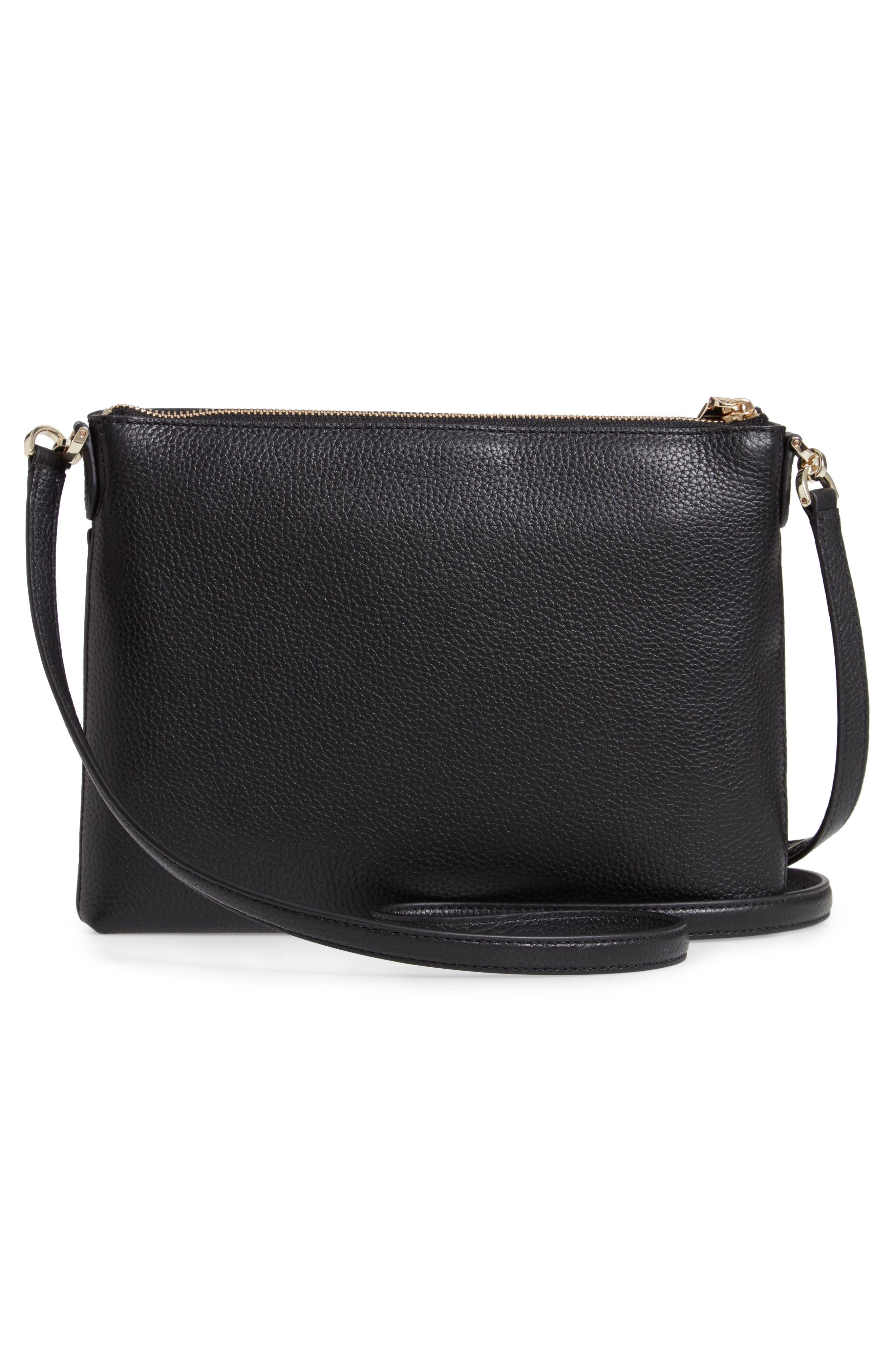 ,                             medium polly leather crossbody bag,                             Alternate thumbnail 4, color,                             BLACK